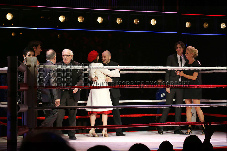Thomas Meehan, Stephen Flaherty, Lynn Ahrens, Stephen Hoggett,, Margo Seibert, Alex Timbers and Kelly Devine during the Broadway Opening Night Performance curtain call for 'Rocky on Broadway' at the Winter Garden Theatre on March 13, 2014 in New York City.