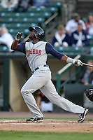 Toledo Mudhens third baseman Audy Ciriaco #16 during a game against the Empire State Yankees at Frontier Field on May 30, 2012 in Rochester, New York.  Empire State defeated Toledo 5-2.  (Mike Janes/Four Seam Images)