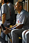 28 August 2010: St. Louis Cardinals first baseman Albert Pujols in the dugout during a game against the Washington Nationals at Nationals Park in Washington, DC. The Nationals defeated the Cards 14-5 to take the third game of their 4-game series. Mandatory Credit: Ed Wolfstein Photo