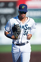 Everett AquaSox right fielder Jansiel Rivera (36) jogs off the field between innings of a Northwest League game against the Tri-City Dust Devils at Everett Memorial Stadium on September 3, 2018 in Everett, Washington. The Everett AquaSox defeated the Tri-City Dust Devils by a score of 8-3. (Zachary Lucy/Four Seam Images)