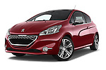 Stock pictures of low aggressive front three quarter view of a 2014 Peugeot 208 GTI 3 Door Hatchback 2WD Low Aggressive