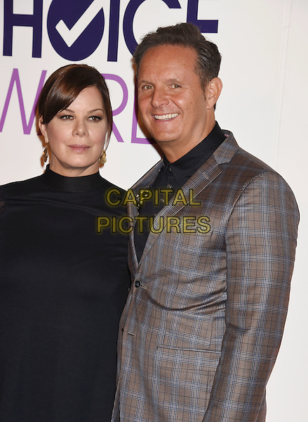 BEVERLY HILLS, CA - NOVEMBER 03: Actress Marcia Gay Harden (L) and producer Mark Burnett attend the People's Choice Awards 2016 - Nominations Press Conference at The Paley Center for Media on November 3, 2015 in Beverly Hills, California.<br /> CAP/ROT/TM<br /> &copy;TM/ROT/Capital Pictures