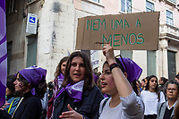 LISBON, PORTUGAL - March 8: A woman holds a banner during a demonstration in International Women´s Day on March 8, 2020 in Lisbon, Portugal.<br /> Actions for international women's day are extended to the wide and the continent.<br /> Rede 8 de Março, a platform that brings together multiple feminist collectives from Portugal. They called for a national feminist strike for International Women's Day in the cities of Amarante, Aveiro, Braga, Coimbra, Évora, Faro, Lisbon, Porto, Viseu, and Vila Real and Ponta Delgada. Despite being celebrated since 1909, International Women's Day was only officially proclaimed by the United Nations in 1975.<br /> Photo by Luis Boza/VIEWpress vía Getty Images