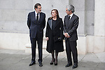 Spanish prime minister Mariano Rajoy, his wife Elvira Fernandez and Adolfo Suarez Illana  arrive to the state funeral for former Spanish prime minister Adolfo Suarez at the Almudena Cathedral in Madrid, Spain. March 31, 2014. (ALTERPHOTOS/Victor Blanco)