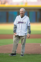 Former Wake Forest Demon Deacons men's head basketball coach Dave Odom prepares to throw out a ceremonial first pitch prior to the Carolina League game between the Buies Creek Astros and the Winston-Salem Dash at BB&T Ballpark on April 13, 2017 in Winston-Salem, North Carolina.  The Dash defeated the Astros 7-1.  (Brian Westerholt/Four Seam Images)
