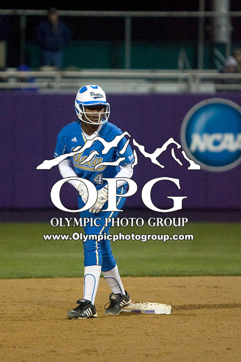 1 April 2010:   UCLA second baseman #4 Marti Reed gets set at second base against Washington. UCLA defeated Washington 1-0 at Husky Softball Stadium in Seattle, WA.