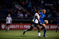 Seattle, WA - April 15th, 2017: Mandy Freeman and Lindsay Elston during a regular season National Women's Soccer League (NWSL) match between the Seattle Reign FC and Sky Blue FC at Memorial Stadium.