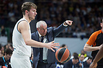 Real Madrid Luka Doncic and Fenerbahce Dogus coach Zeljko Obradovic during Turkish Airlines Euroleague match between Real Madrid and Fenerbahce Dogus at Wizink Center in Madrid , Spain. March 02, 2018. (ALTERPHOTOS/Borja B.Hojas)