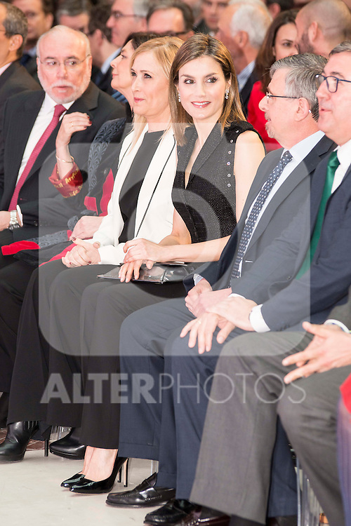 "Queen Letizia of Spain and president of SM Group, Luis Fernando Crespo during the delivery of SM Awards of children's literature ""El Barco de Vapor"" and ""Gran Angular"" at Real Casa de Correos in Madrid. April 19,2016. (ALTERPHOTOS/Borja B.Hojas)"