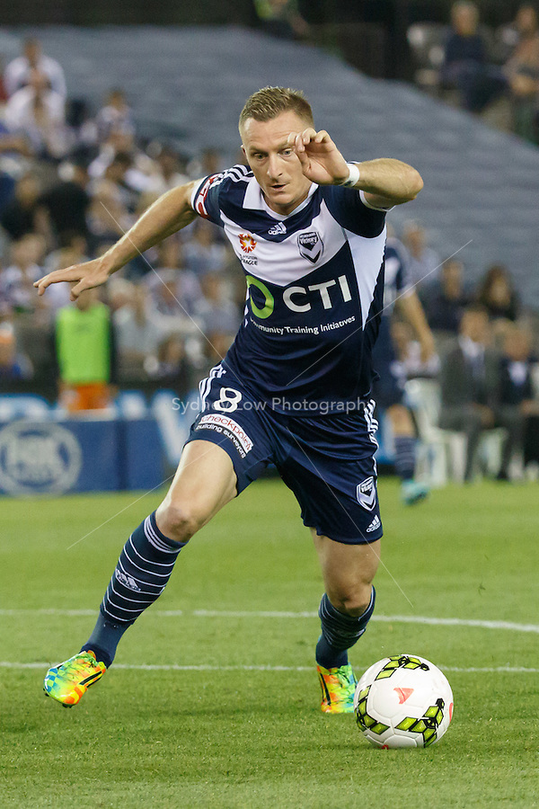 Besart BERISHA of the Victory controls the ball in the round seven match between Melbourne Victory and Brisbane Roar in the Australian Hyundai A-League 2014-15 season at Etihad Stadium, Melbourne, Australia.