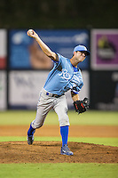 Burlington Royals relief pitcher Alex Massey (33) in action against the Danville Braves at American Legion Post 325 Field on August 16, 2016 in Danville, Virginia.  The game was suspended due to a power outage with the Royals leading the Braves 4-1.  (Brian Westerholt/Four Seam Images)