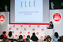 Anne-Cecile Sarfati editor-in-chief of ELLE Active speaks to the audience during the ''ELLE Women in Society'' event on July 13, 2015, Tokyo, Japan. The event promotes the working women's roll in Japanese society with various seminars where top businesswomen, musicians, writers and other international celebrities speak about the working women's roll in the world. By 2020 Prime Minister Shinzo Abe's administration aims to increase the percentage of women in leadership positions to 30% in Japan. (Photo by Rodrigo Reyes Marin/AFLO)