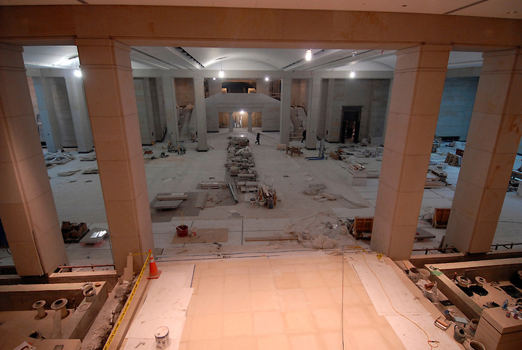 On going construction inside the great hall is nearing completion at the visitor's center for the U.S. Capitol.