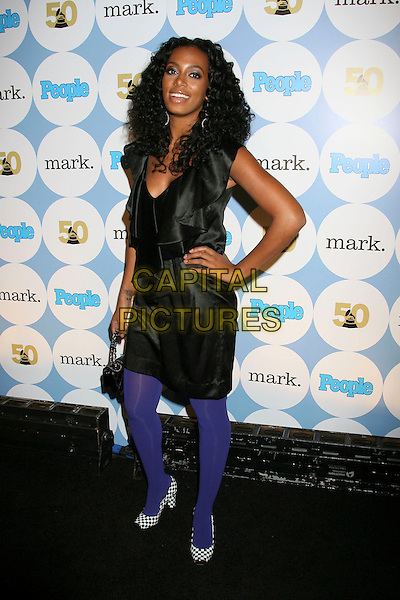 SOLANGE KNOWLES.PEOPLE Magazine and the Recording Academy Host Kick-Off Party for the 50th Annual GRAMMY Awards at Avalon, Hollywood, California, USA,.06 December, 2007..full length dress hand on hip black and white checked gingham shoes purple tights square toe.CAP/ADM/RE.©Russ Elliot/AdMedia/Capital Pictures.