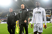 Gary Richards and Cameron Toshack Coachs of Swansea City U21 at full time during the Checkatrade Trophy match between Swansea City U21 and Bristol Rovers at the Liberty Stadium in Swansea, Wales, UK. Wednesday 05 December 2018