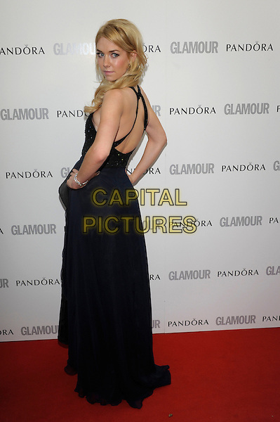 Vanessa Kirby.Women Of The Year 2012 - Glamour Awards, Berkeley Square, London, England..29th May 2012.full length black blue dress looking over shoulder .CAP/PL.©Phil Loftus/Capital Pictures.