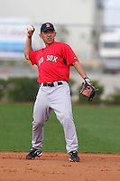 March 18, 2010:  Second baseman Ray Chang of the Boston Red Sox organization during Spring Training at Ft.  Myers Training Complex in Fort Myers, FL.  Photo By Mike Janes/Four Seam Images