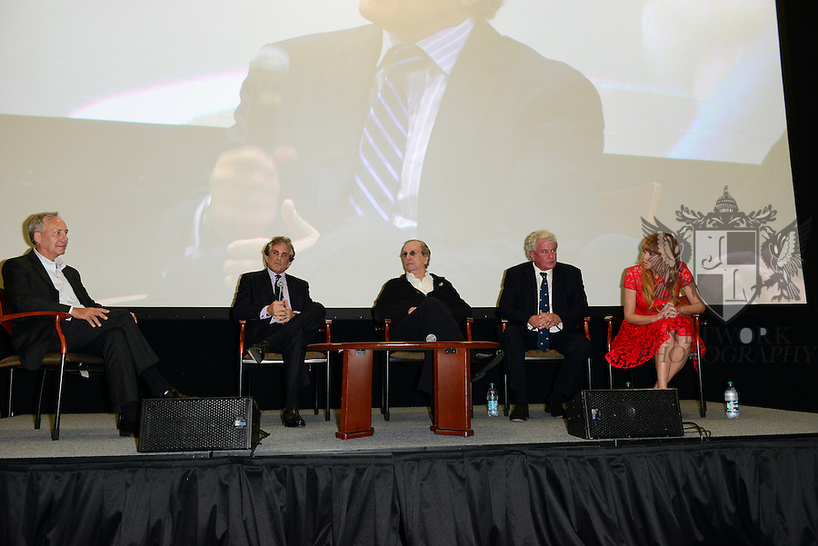 CORAL GABLES, FL - NOVEMBER 20: Gregory J. Shepherd, John Herzfeld, Danny Aiello, Tom Berenger and Rebekah Chaney attend Q&A session after the premiere screening Of 'Reach Me' Hosted by University Of Miami inside the BankUnited Center Fieldhouse at University of Miami on Thursday November 20, 2014 in Coral Gables, Florida. (Photo by Johnny Louis/jlnphotography.com)