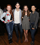 "Madelaine Petsch, Corey Cott, Laura Osnes and Camila Mendes backstage at Broadway's ""Bandstand"" at the Bernard Jacobs Theate on May 19, 2017 in New York City."