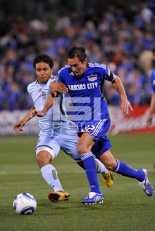 Davy Arnaud #22, Quincy Amarikwa...Kansas City Wizards defeated Colorado Rapids 1-0 at Community America Ballpark, Kansas City,Kansas.