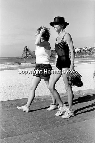Bondi beach two women Power walk for morning exercise. Sydney