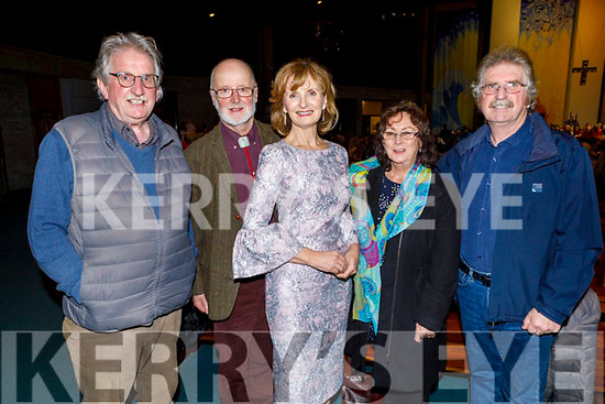 Enjoying the Carols for Chernobyl an evening of seasonal Music and Song in St Brendan's Church on Sunday night were l-r: Sean Dunne, Donal de Roiste, Adi Roche, Marguerite Egan and Lawrence Dunne.