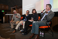 Christopher Hawthorne leads a panel discussion on the book Quartz City for the 3rdLA series, in the Choi Auditorium at Occidental College on Wednesday, Mar 4, 2015. Panel members from left to right: David Ulin, Rick Cole, Amy Lyford, Christopher Hawthorne.<br /> <br /> (Photos by Susanica Tam/For Occidental College)