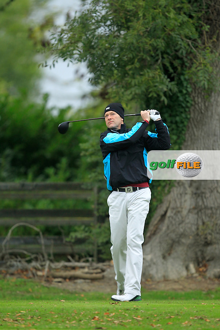 Jimmy Bolger (Kilkenny G.C) on the 1st tee during Round 3 of The Cassidy Golf 103rd Irish PGA Championship in Roganstown Golf Club on Saturday 12th October 2013.<br /> Picture:  Thos Caffrey / www.golffile.ie