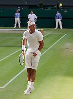 24-06-10, Tennis, England, Wimbledon,   Rafael Nadal ontploft van vreugde als hij Robin Haase breekt in de vijfde set