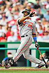 19 June 2011: Baltimore Orioles' first baseman Derrek Lee in action against the Washington Nationals on Father's Day at Nationals Park in Washington, District of Columbia. The Orioles defeated the Nationals 7-4 in inter-league play, ending Washington's 8-game winning streak. Mandatory Credit: Ed Wolfstein Photo