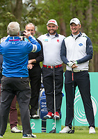 Chris Wood (England) and Andy Sullivan (England) pose for a comedy photo during the GOLFSIXES ProAm  at Centurion Club, St Albans, England on 5 May 2017. Photo by Andy Rowland.