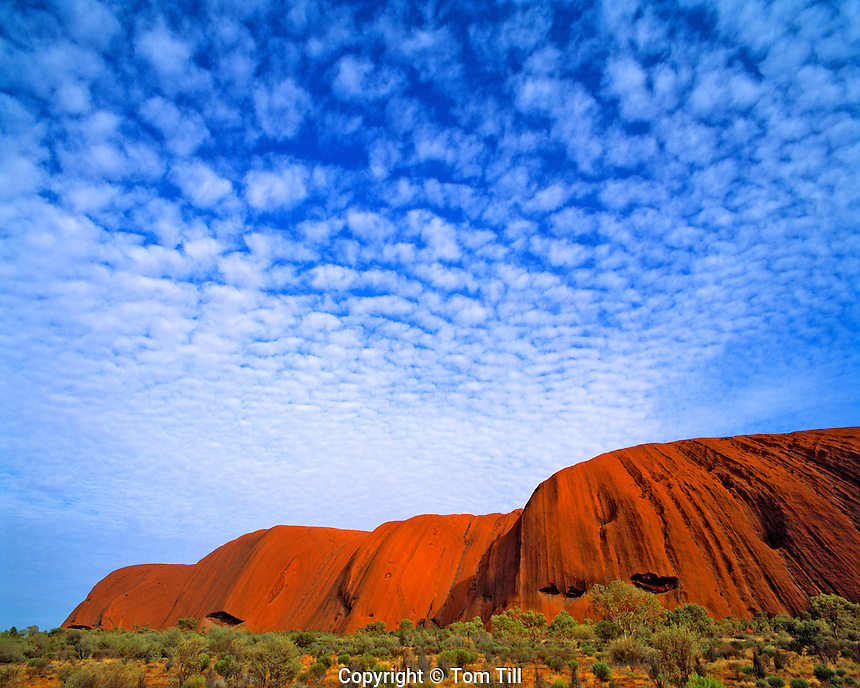 Morning Clouds at Ayers Rock, Uluru National Park, Red Centre of Northern Territory, Australia