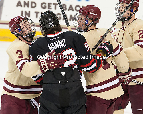 Patch Alber (BC - 3), Joseph Manno (NU - 92), Brooks Dyroff (BC - 14), Patrick Brown (BC - 23) - The Boston College Eagles defeated the visiting Northeastern University Huskies 3-0 after a banner-raising ceremony for BC's 2012 national championship on Saturday, October 20, 2012, at Kelley Rink in Conte Forum in Chestnut Hill, Massachusetts.