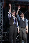 Ben Frankhauser, Jeremy Jordan.during the 'NEWSIES' Opening Night Curtain Call at the Nederlander Theatre in New York on 3/29/2012