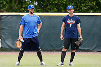 19 September 2012: Team France pitching coach Eric Gagne is seen next to pitcher Pierrick Le Mestre prior to Team France friendly game against Palm Beach State College, during the 2012 World Baseball Classic Qualifier round, in Lake Worth, Florida, USA.