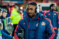 Jermain Defoe of Sunderland  arrives at the Liberty stadium Prior to the Barclays Premier League match between Swansea City and Sunderland played at the Liberty Stadium, Swansea  on  January the 13th 2016