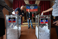 A Donetsk's citizen votes in a school used as a polling station. Donetsk region and Lugansk vote for separation of the Eastern Ukraine. Donetsk, Ukraine. May 11, 2014
