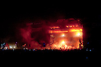 The Chemical Brothers from the UK performs on the Main Stage of the Sziget festival held in Budapest, Hungary on August 11, 2011. ATTILA VOLGYI