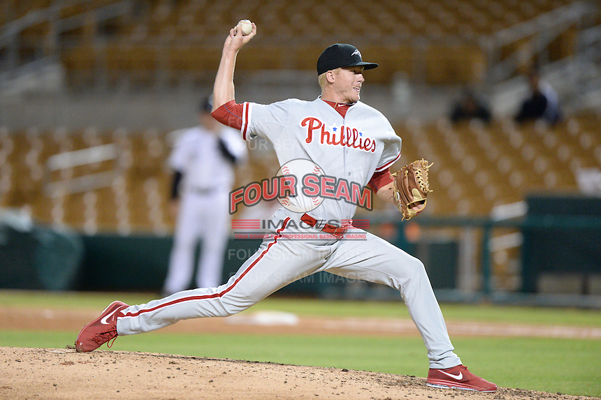 Peoria Javelinas pitcher Mike Nesseth (41), of the Philadelphia Phillies organization, during an Arizona Fall League game against the Glendale Desert Dogs on October 14, 2013 at Camelback Ranch Stadium in Glendale, Arizona.  Glendale defeated Peoria 5-1.  (Mike Janes/Four Seam Images)