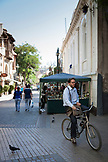 CHILE, Santiago, A local Cyclist on a street in santiago downtown