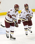 Brian Boyle (BC - 10), Mike Brennan (BC - 4) - The Boston College Eagles defeated the visiting Northeastern University Huskies 7-1 on Friday, March 9, 2007, to win their Hockey East quarterfinals matchup in two games at Conte Forum in Chestnut Hill, Massachusetts.