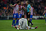 Atletico de Madrid's Stefan Savic Juanfran Torres Real Madrid's Cristiano Ronaldo  during the match of La Liga between Atletico de Madrid and Real Madrid at Vicente Calderon Stadium  in Madrid , Spain. November 19, 2016. (ALTERPHOTOS/Rodrigo Jimenez)