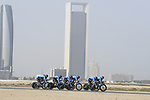 Movistar Team motor along during Stage 1 of the 2019 UAE Tour, a team time trial running 16km around Al Hudayriat Island, Abu Dhabi, United Arab Emirates. 24th February 2019.<br /> Picture: LaPresse/Fabio Ferrari | Cyclefile<br /> <br /> <br /> All photos usage must carry mandatory copyright credit (© Cyclefile | LaPresse/Fabio Ferrari)