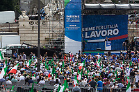"""Antonio Tajani MEP (Member of the European Parliament for Forza Italia, Vice-President of Forza Italia, former President of the European Parliament). <br /> <br /> Rome, 04/07/2020. Today, few thousand people gathered in Piazza del Popolo to attend the demonstration """"Insieme Per L'Italia Del Lavoro"""" (Together For the Italy Of Work) organised by the Italian Centre-Right Parties: Lega (League, 1.), leader Matteo Salvini MP, Forza Italia (2.), leader Silvio Berlusconi MEP but today led by the Vice-President of the Party, Antonio Tajani MEP, and Fratelli d'Italia (3.), leader Giorgia Meloni MP. The aims of the rally were to protest against the Italian coalition Government (AKA Governo Conte II, Conte's Second Government, Governo Giallo-Rosso, 4.) lead by Professor Giuseppe Conte, to call for immediate general elections, to fight the immigration, and last but not least the three political leaders launched an attack from the stage against a part of the Italian Magistracy and called for establishing an inquiry commission about Berlusconi's judiciary situation.<br /> Before the demonstration, due to the pandemic Covid-19/Coronavirus, about 4.200 chairs were placed in the square to respect the """"social distance"""" between the people attending but a lot of them were empty for the full length of the event.<br /> <br /> Footnotes & Links:<br /> 1. https://www.leganord.org<br /> 2. http://www.forza-italia.it<br /> 3. https://www.fratelli-italia.it<br /> 4. http://bit.do/feK6N<br /> A video of the event (Source, ilfattoquotidiano.it ITA) http://bit.do/fGnDd"""