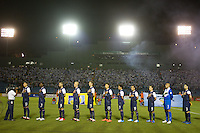 The USA starting lineup stands for the national anthem before the United States played Guatemala at Estadio Mateo Flores in Guatemala City, Guatemala in a World Cup Qualifier on Tue. June 12, 2012.