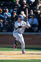 Kurtis Brown (22) of the Richmond Spiders at bat against the Wake Forest Demon Deacons at David F. Couch Ballpark on March 6, 2016 in Winston-Salem, North Carolina.  The Demon Deacons defeated the Spiders 17-4.  (Brian Westerholt/Four Seam Images)