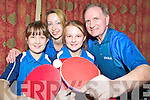 Announcing details of the Stiga Munster Open table tennis tournament in the Gleneagle were Devon Brady, Jana Poller, Brielle Brady and Pat McLafferty, Killarney Table Tennis Club.