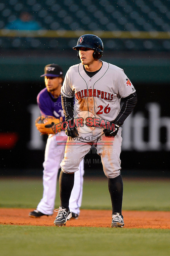 Indianapolis Indians catcher Tony Sanchez #26 leads off second during a game against the Louisville Bats on April 19, 2013 at Louisville Slugger Field in Louisville, Kentucky.  Indianapolis defeated Louisville 4-1.  (Mike Janes/Four Seam Images)