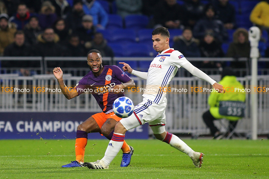 Raheem Sterling of Manchester City crosses the ball into the Lyon goalmouth during Lyon vs Manchester City, UEFA Champions League Football at Groupama Stadium on 27th November 2018