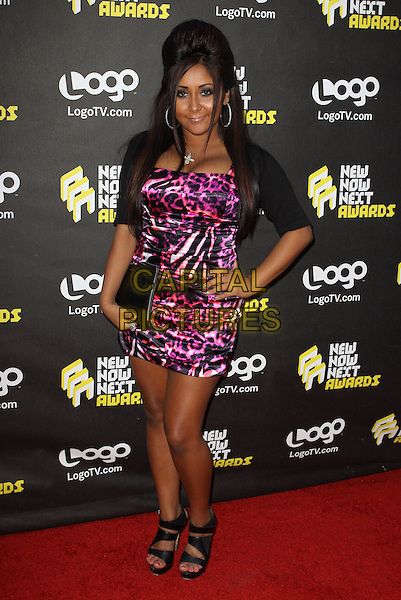 NICOLE POLIZZI (aka SNOOKI) .Logo's NewNowNext Awards 2010 held at The Edison, Los Angeles, CA, USA..June 8th, 2010.full length black sandals purple pink leopard print dress silk satin hand on hip clutch bag.CAP/ADM/KB.©Kevan Brooks/AdMedia/Capital Pictures.